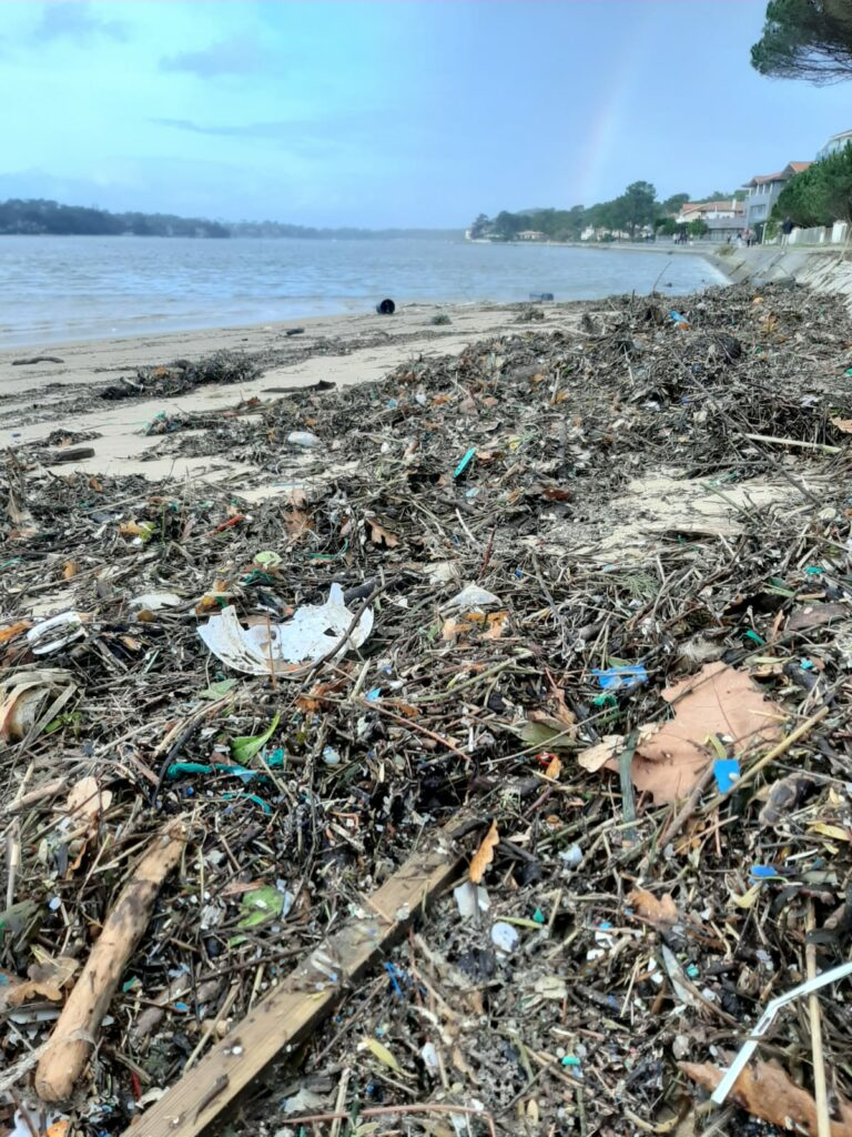 Photo d'un bord de lac couvert de déchets et détritus (plastiques, morceaux de bois ...)