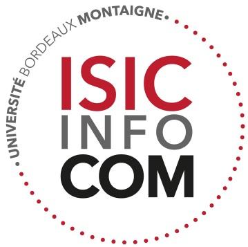 Logo de l'Institut des sciences de l'information et de la communication (ISIC), de l'Université Bordeaux Montaigne. L'institut des sciences de l'information et de la communication propose aux étudiants des formations générales et professionnelles préparant aux métiers de l'information et de la communication. L'ISIC est rattaché au laboratoire de recherche MICA.
