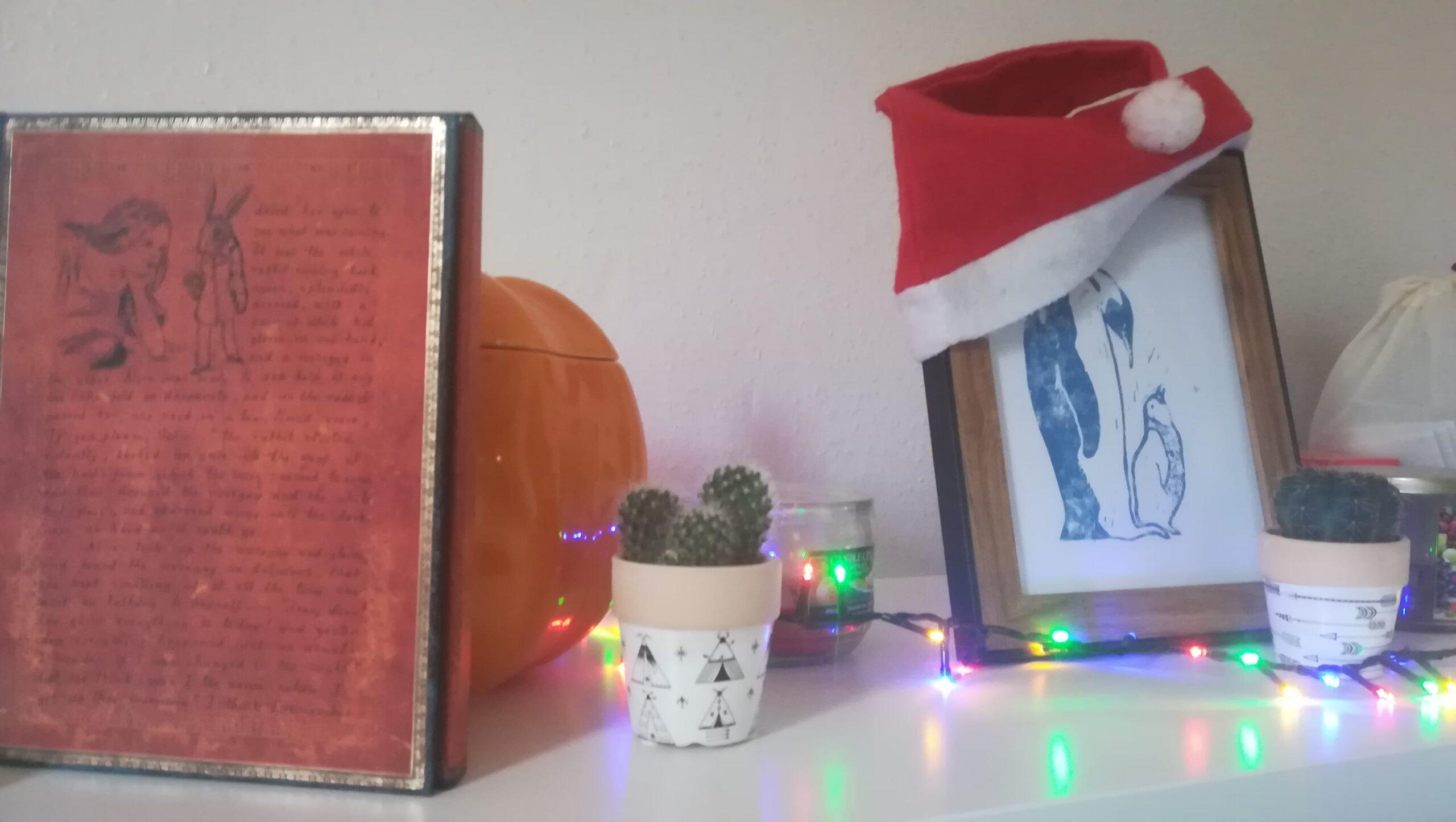 À gauche de l'image, un livre se tient debout. Sur la couverture, un dessin d'Alice se confiant au lapin blanc, entouré des premiers mots du roman de Lewis Caroll. Il est appuyé contre une citrouille en céramique décorative, dans laquelle se reflètent les lueurs de la guirlande lumineuse qui serpente entre ces objets. Au premier plan, un petit cactus verdâtre dans un pot blanc décoré de tipis amérindiens. Derrière lui, une bougie rose dans son bocal large. Un cadre décoré d'un bonnet de père Noël, aux liserés de bois, décris un manchot empereur adulte regardant son petit, entre ses pattes, avec tendresse. Devant ce cadre, un deuxième cactus vert dans un pot blanc décoré de flèches.