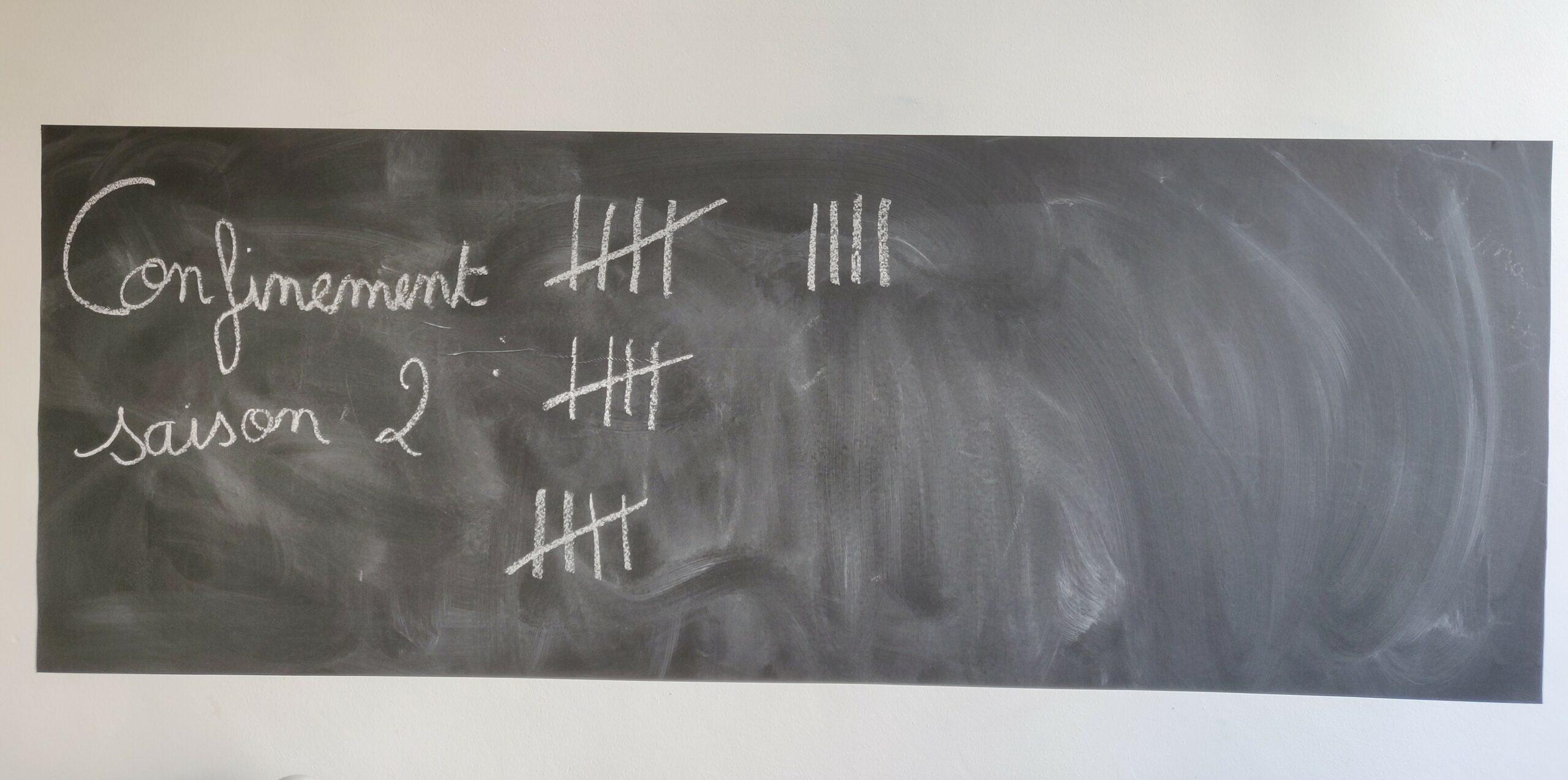 """Un tableau noir, sur lequel on écrit à la craie. """"Confinement saison 2"""" est marqué sur la gauche de ce tableau. A côté des barres sont indiquées, signifiant le nombre de jours de confinements, qui se sont déroulés."""
