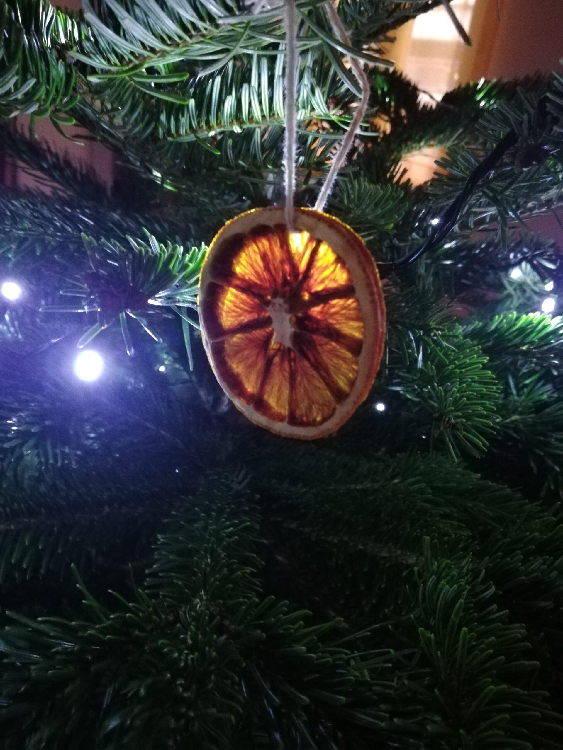Entre les branches du sapin, une décoration faite main. Une tranche d'orange séchée.