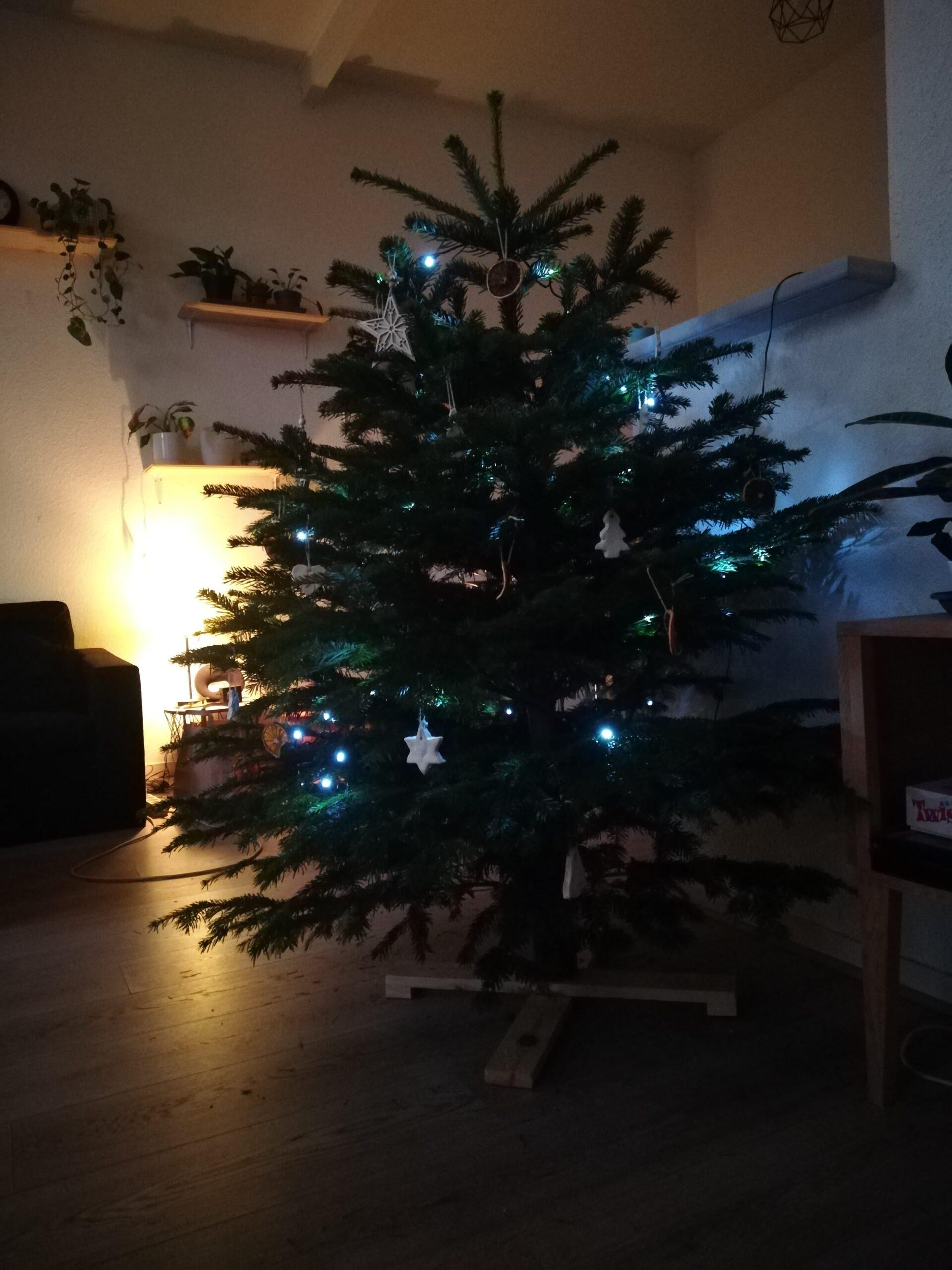 Un sapin de Noël tout décoré dans un salon avec une lumière tamisée.