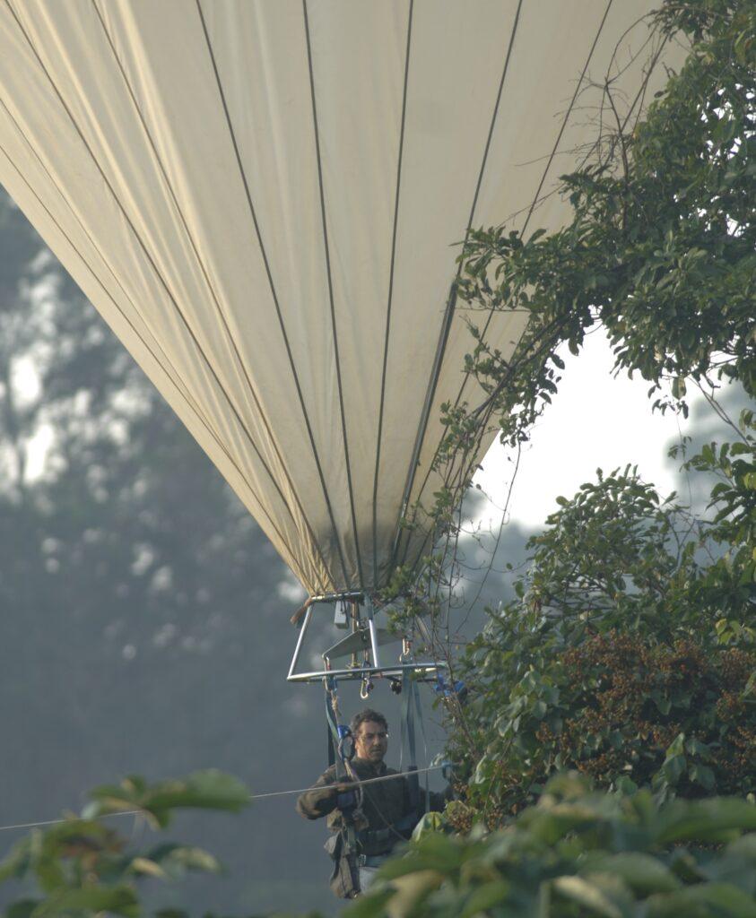 Le chercheur est à bord d'une montgolfière blanche, il observe la cime des arbres.