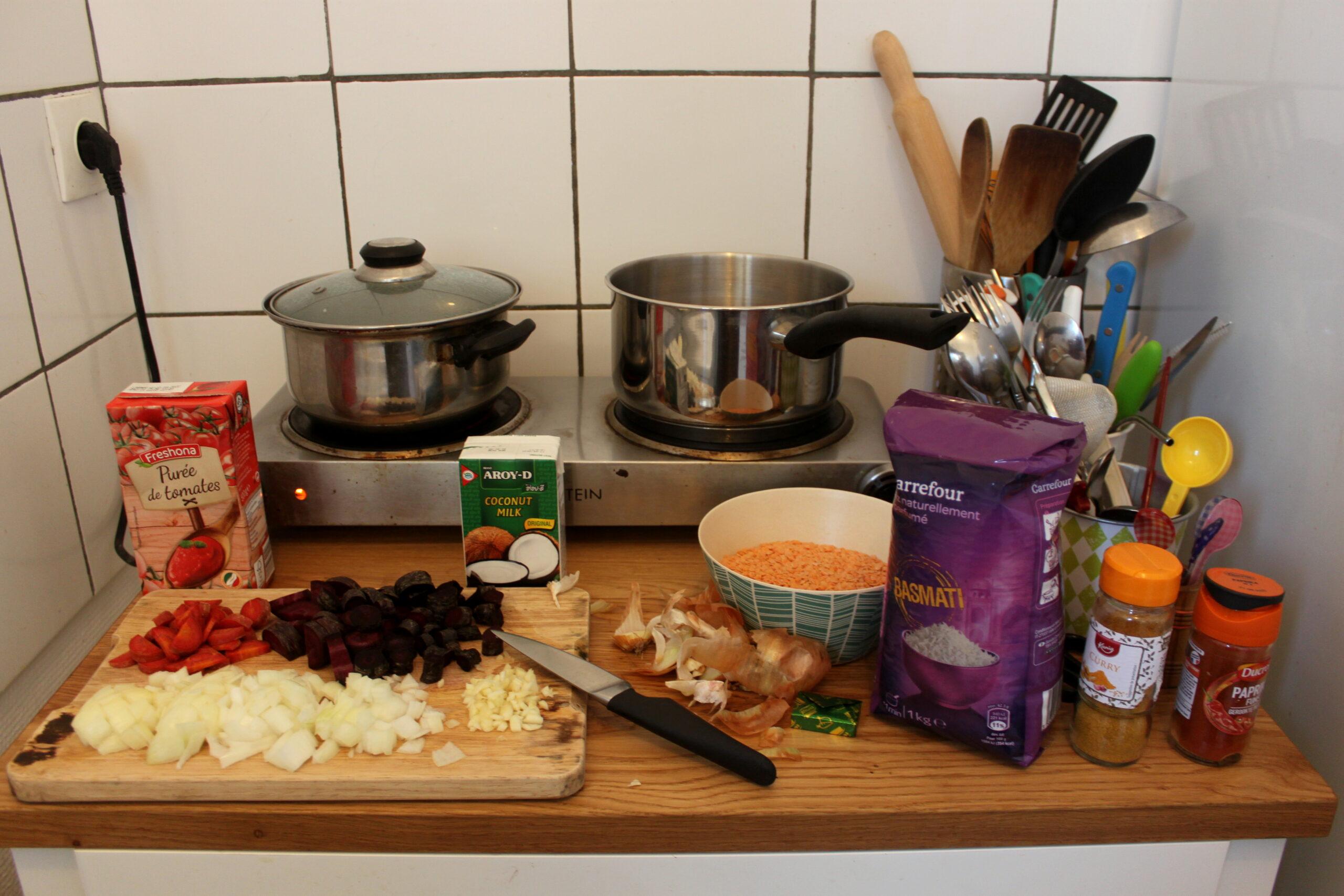 La cuisine de Nina. Sur un petit meuble il y a tout le nécessaire pour faire un curry de lentilles corail. Deux petites plaques électriques sont au fond avec deux casseroles posées dessus.