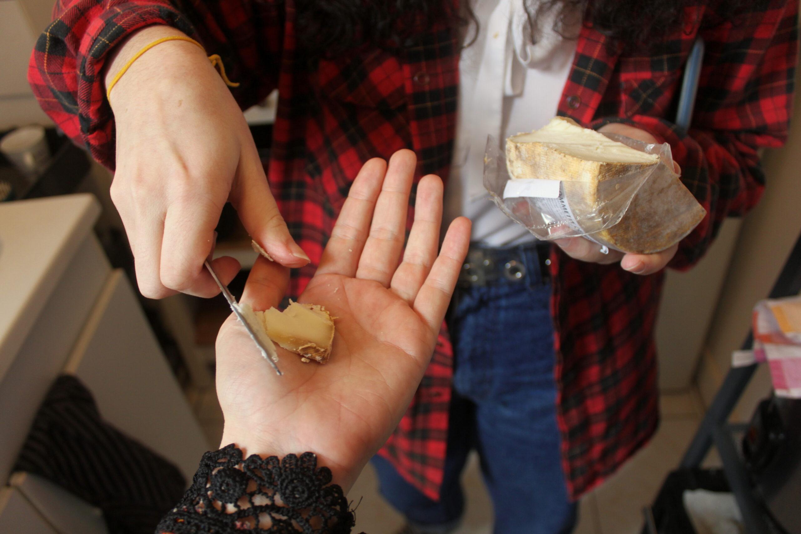 Typhaine donne un morceau de fromage à Nina directement dans sa main.