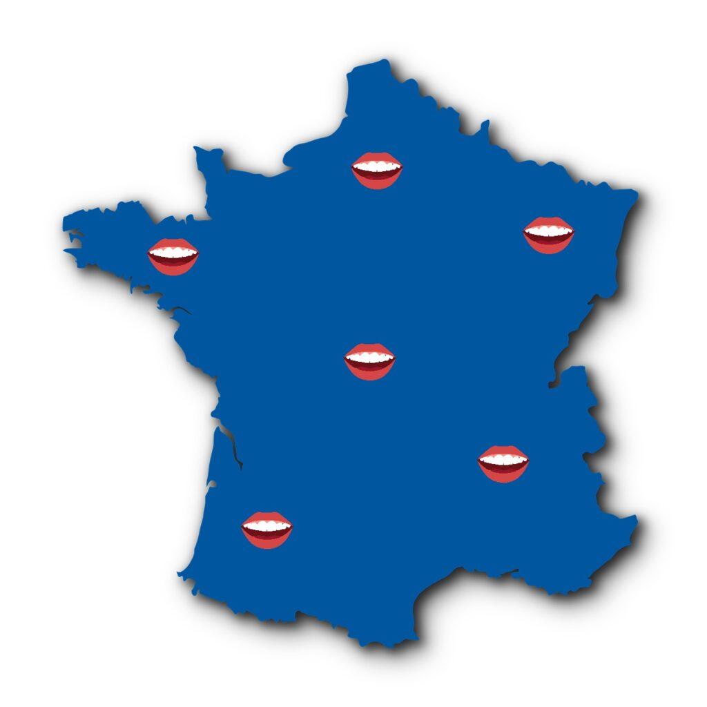 Image de la France, intégralement colorée en bleu avec plusieurs bouches représentant les différentes langues régionales employées en France.