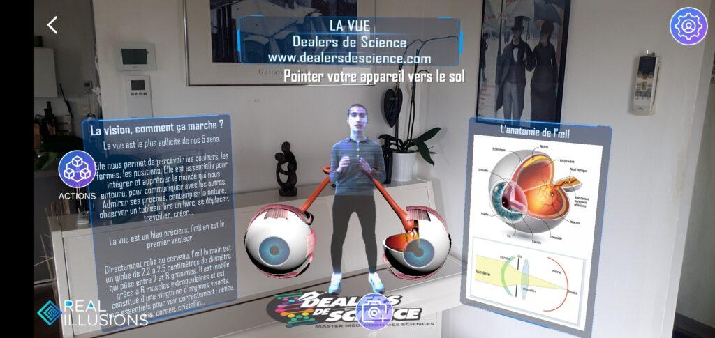 Capture d'écran de l'animation prévue. Une étudiante au centre avec une explication à gauche et un shéma de l'oeil à droite.