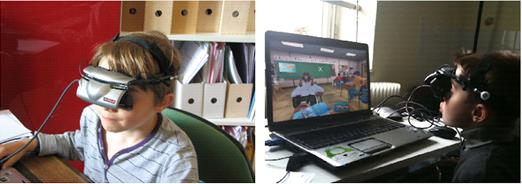 Deux photos avec à gauche un enfant portant un casque de réalité virtuelle et à droite l'écran de l'ordinateur qui lui fait face. Celui-ci montre une classe virtuelle
