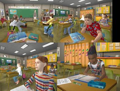 Quatre illustrations accolées de classes de réalite virtuelle utilisée avec les enfants TDAH