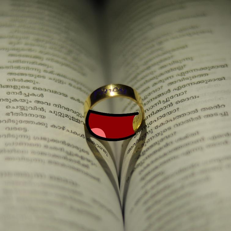 Livre ouvert en deux avec un anneau au centre du bouquin comme posé sur la reliure intérieure. Celui-ci est décoré d'une bouche rosée.